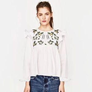 Zara Embroidered Ruffle Top